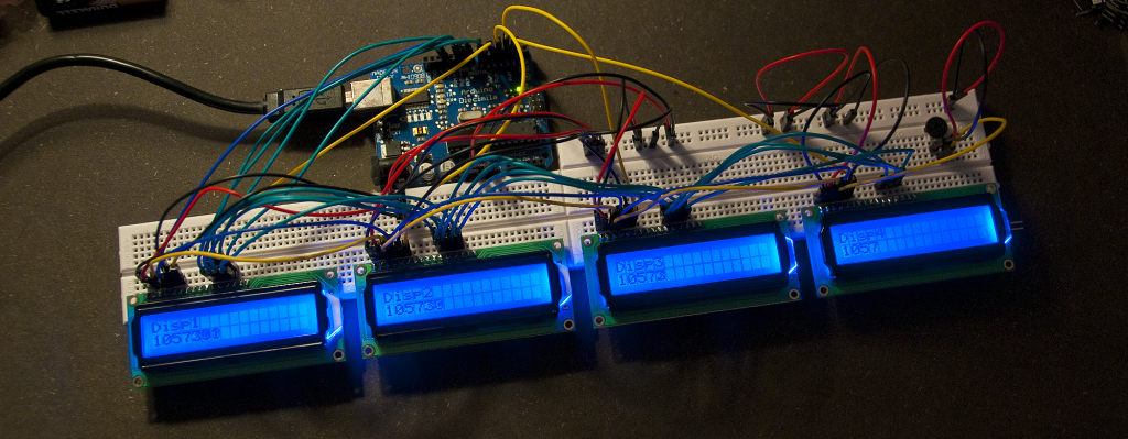 4 LCD displays on 1 Arduino